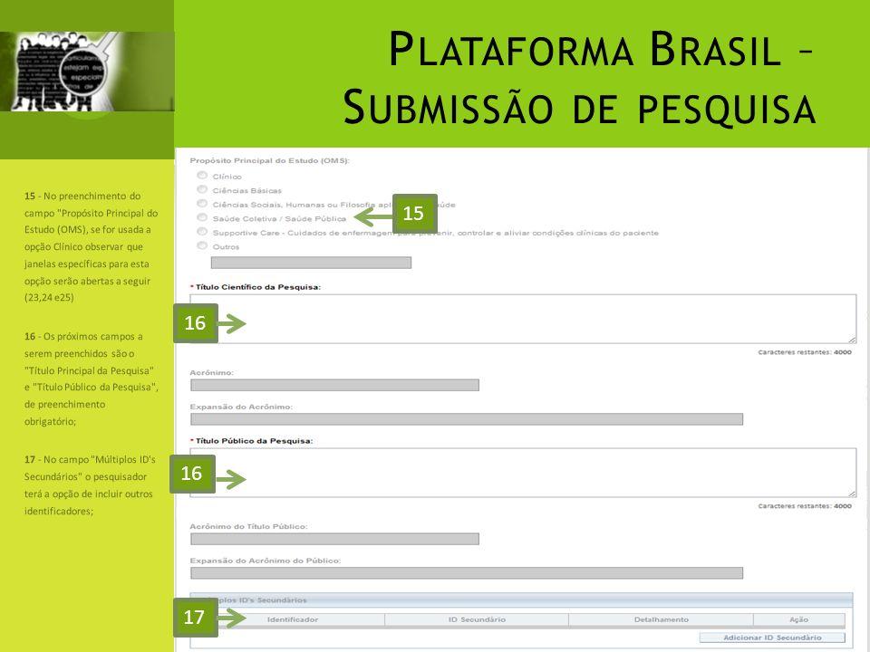 P LATAFORMA B RASIL – S UBMISSÃO DE PESQUISA 15 - No preenchimento do campo