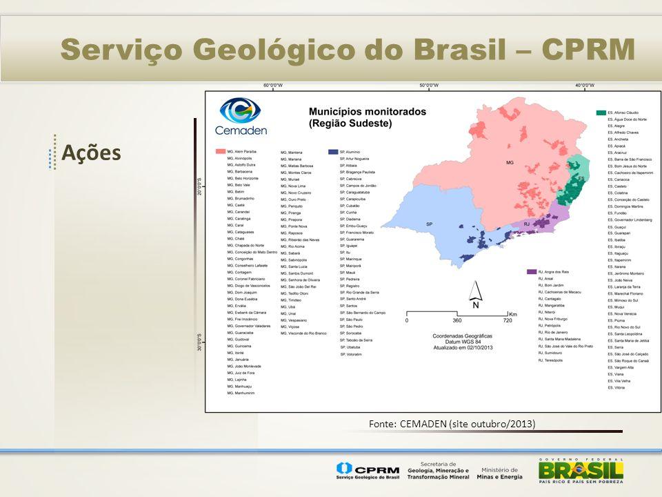 Serviço Geológico do Brasil – CPRM Ações Fonte: CEMADEN (site outubro/2013)