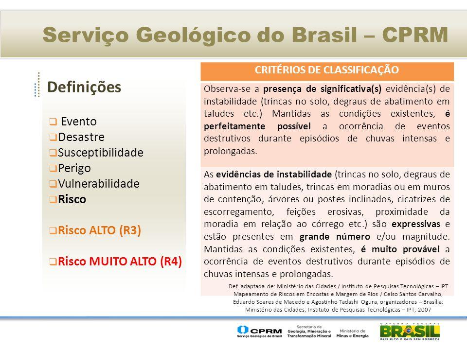Definições Serviço Geológico do Brasil – CPRM Evento Desastre Susceptibilidade Perigo Vulnerabilidade Risco Risco ALTO (R3) Risco MUITO ALTO (R4) CRITÉRIOS DE CLASSIFICAÇÃO Observa-se a presença de significativa(s) evidência(s) de instabilidade (trincas no solo, degraus de abatimento em taludes etc.) Mantidas as condições existentes, é perfeitamente possível a ocorrência de eventos destrutivos durante episódios de chuvas intensas e prolongadas.