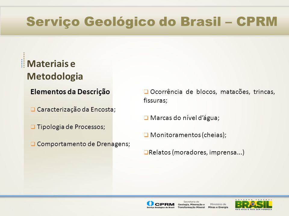 Materiais e Metodologia Serviço Geológico do Brasil – CPRM Elementos da Descrição Caracterização da Encosta; Tipologia de Processos; Comportamento de