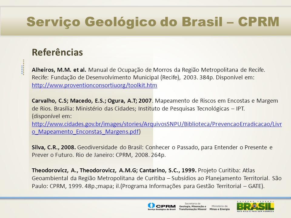 Referências Serviço Geológico do Brasil – CPRM Alheiros, M.M. et al. Manual de Ocupação de Morros da Região Metropolitana de Recife. Recife: Fundação