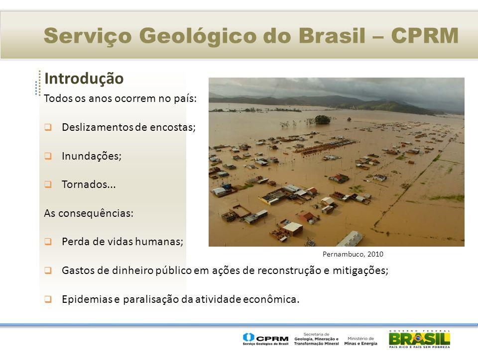Introdução Serviço Geológico do Brasil – CPRM Todos os anos ocorrem no país: Deslizamentos de encostas; Inundações; Tornados... As consequências: Perd