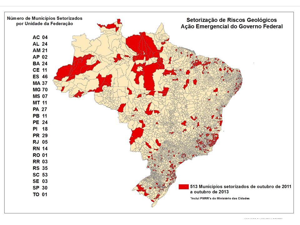 Serviço Geológico do Brasil – CPRM Total de 559 municípios (outubro/2013); Meta até 2014 de 821 municípios;