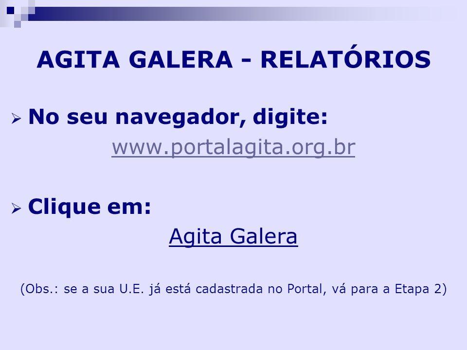 AGITA GALERA - RELATÓRIOS No seu navegador, digite: www.portalagita.org.br Clique em: Agita Galera (Obs.: se a sua U.E. já está cadastrada no Portal,