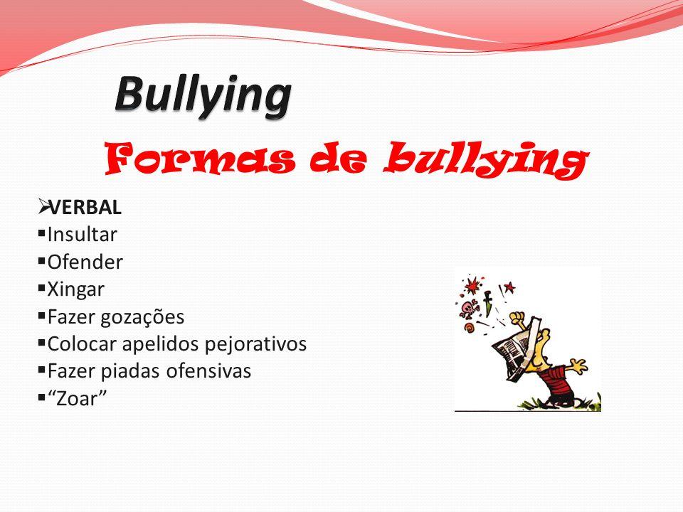 Formas de bullying VERBAL Insultar Ofender Xingar Fazer gozações Colocar apelidos pejorativos Fazer piadas ofensivas Zoar