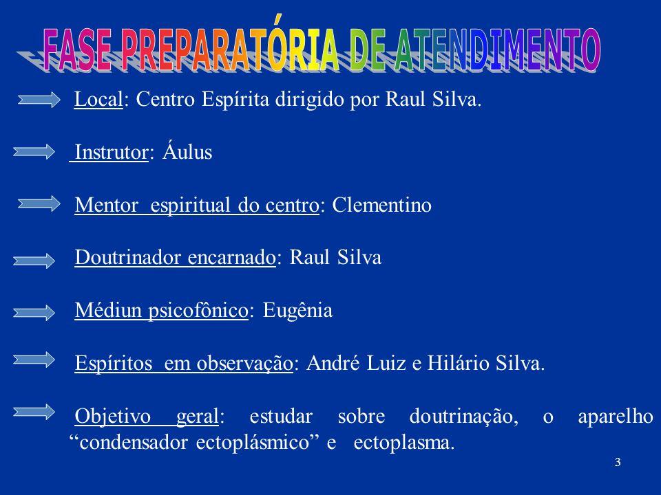 Local: Centro Espírita dirigido por Raul Silva. Instrutor: Áulus Mentor espiritual do centro: Clementino Doutrinador encarnado: Raul Silva Médiun psic