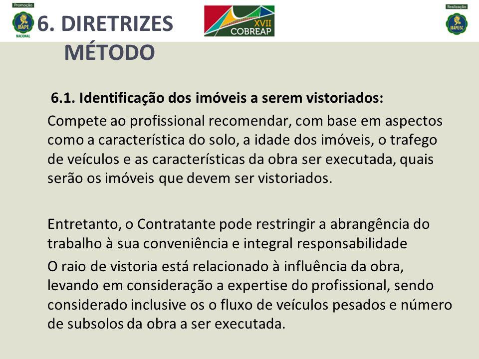 6. DIRETRIZES MÉTODO 6.1. Identificação dos imóveis a serem vistoriados: Compete ao profissional recomendar, com base em aspectos como a característic