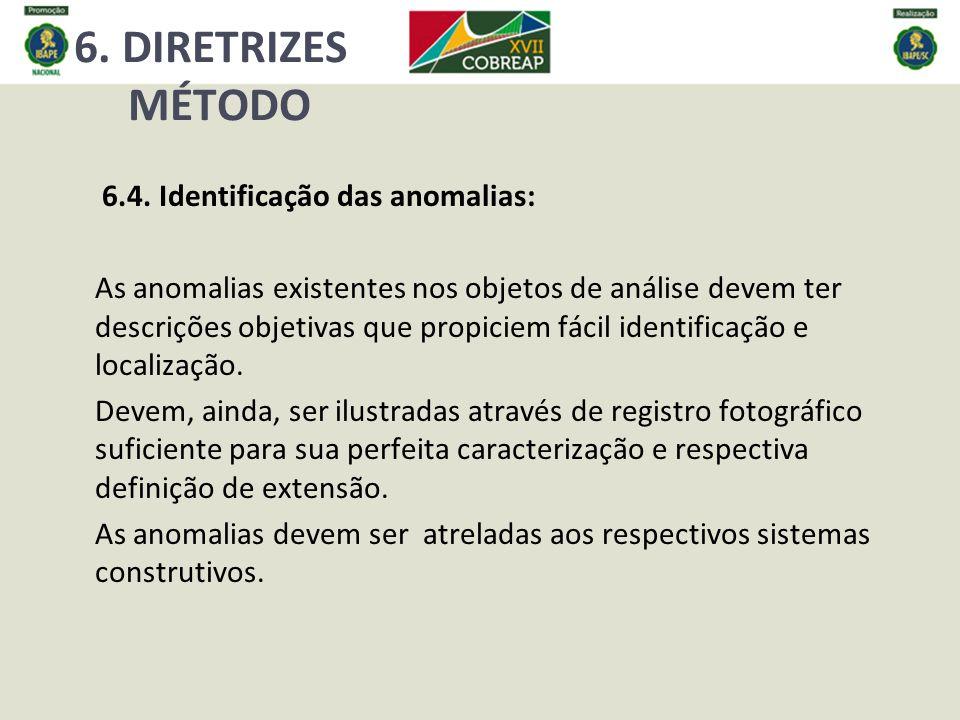 6. DIRETRIZES MÉTODO 6.4. Identificação das anomalias: As anomalias existentes nos objetos de análise devem ter descrições objetivas que propiciem fác