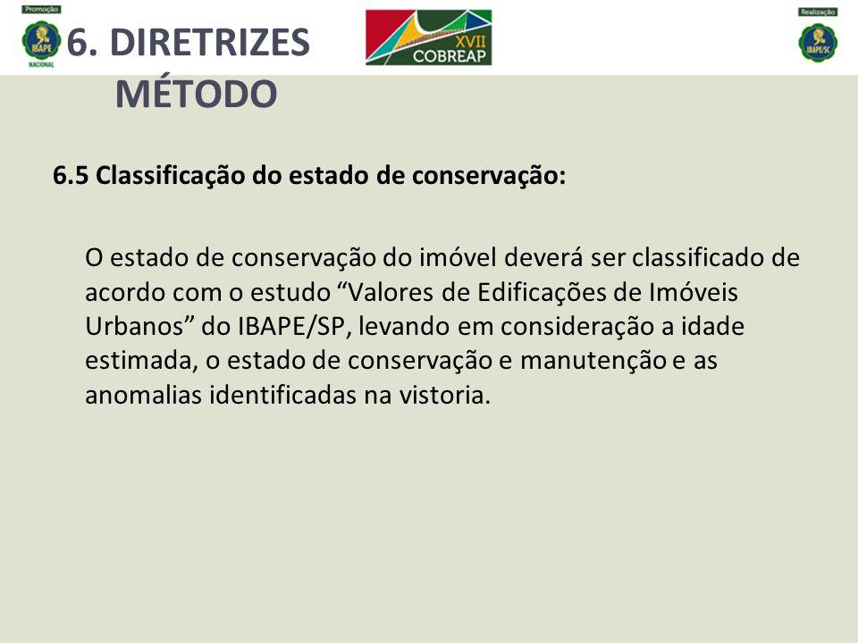 6. DIRETRIZES MÉTODO 6.5 Classificação do estado de conservação: O estado de conservação do imóvel deverá ser classificado de acordo com o estudo Valo