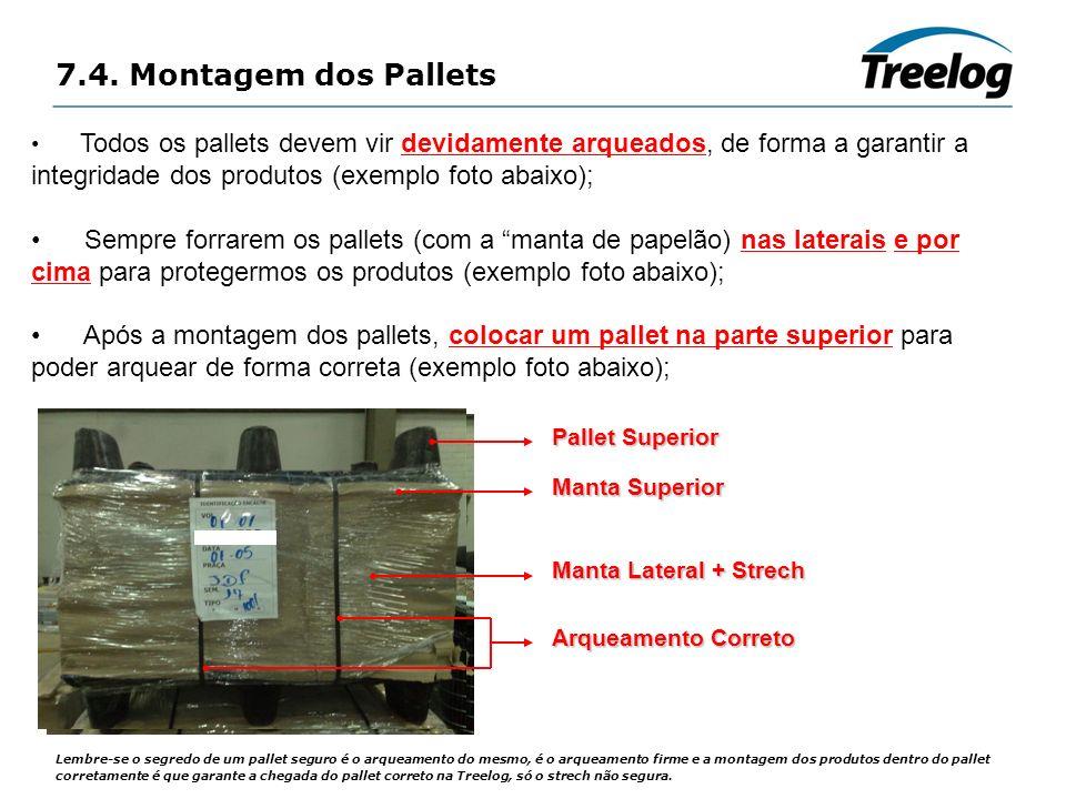 7.4. Montagem dos Pallets Lembre-se o segredo de um pallet seguro é o arqueamento do mesmo, é o arqueamento firme e a montagem dos produtos dentro do