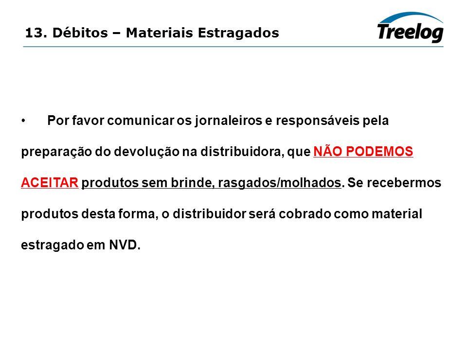 13. Débitos – Materiais Estragados Por favor comunicar os jornaleiros e responsáveis pela preparação do devolução na distribuidora, que NÃO PODEMOS AC
