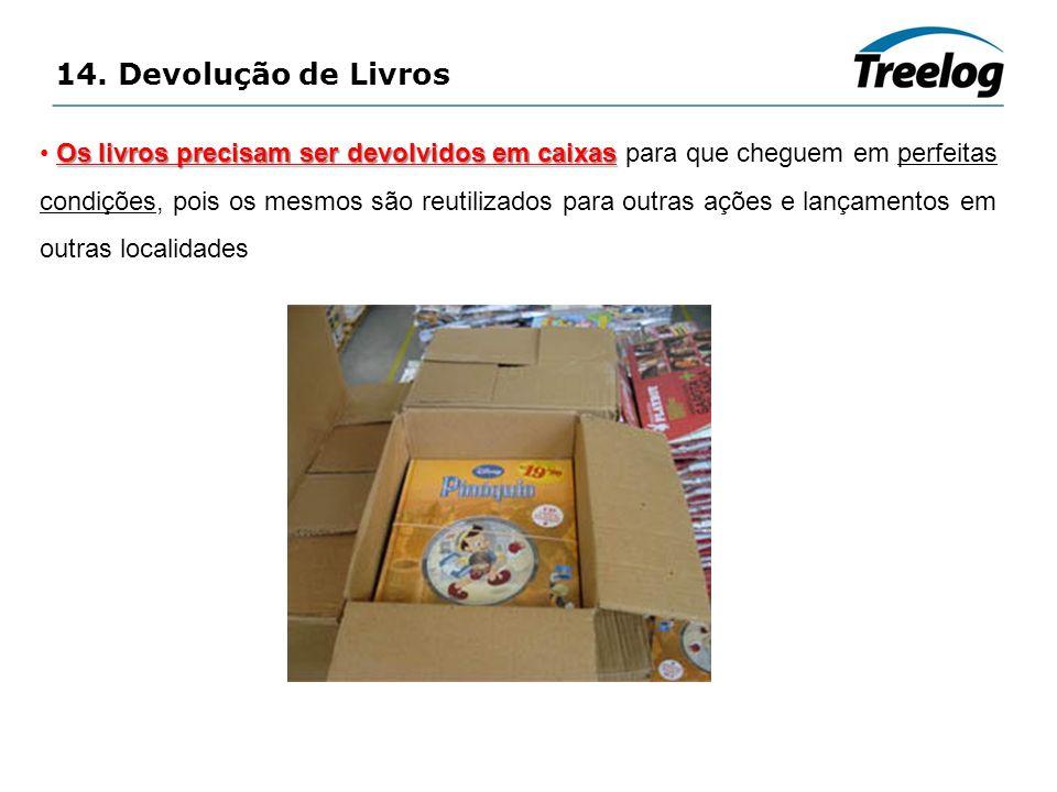 14. Devolução de Livros Os livros precisam ser devolvidos em caixas Os livros precisam ser devolvidos em caixas para que cheguem em perfeitas condiçõe