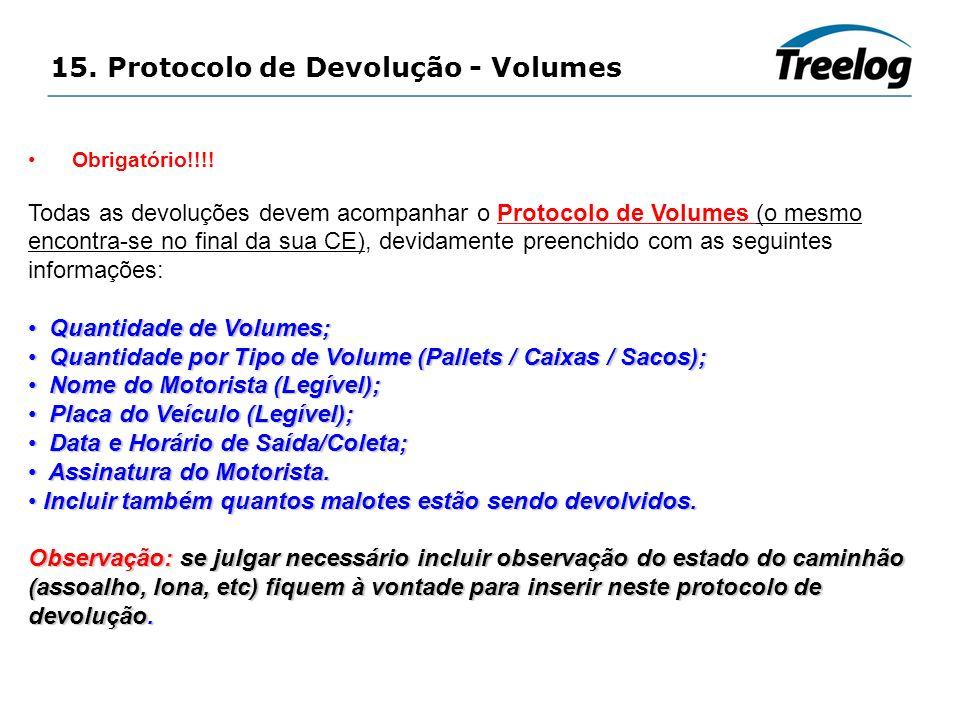 15. Protocolo de Devolução - Volumes Obrigatório!!!! Todas as devoluções devem acompanhar o Protocolo de Volumes (o mesmo encontra-se no final da sua