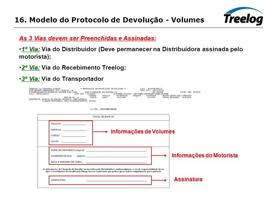 16. Modelo do Protocolo de Devolução - Volumes As 3 Vias devem ser Preenchidas e Assinadas: 1º Via:1º Via: Via do Distribuidor (Deve permanecer na Dis