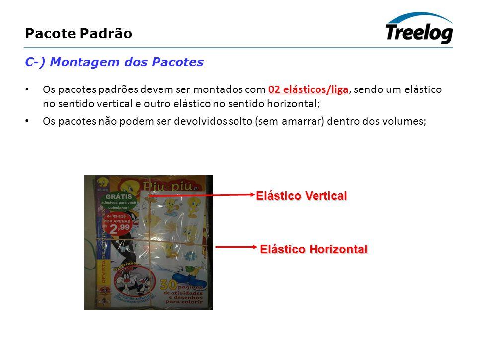 Pacote Padrão C-) Montagem dos Pacotes Os pacotes padrões devem ser montados com 02 elásticos/liga, sendo um elástico no sentido vertical e outro elás