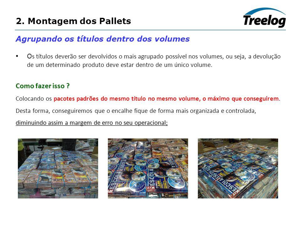 2. Montagem dos Pallets Agrupando os títulos dentro dos volumes O s títulos deverão ser devolvidos o mais agrupado possível nos volumes, ou seja, a de