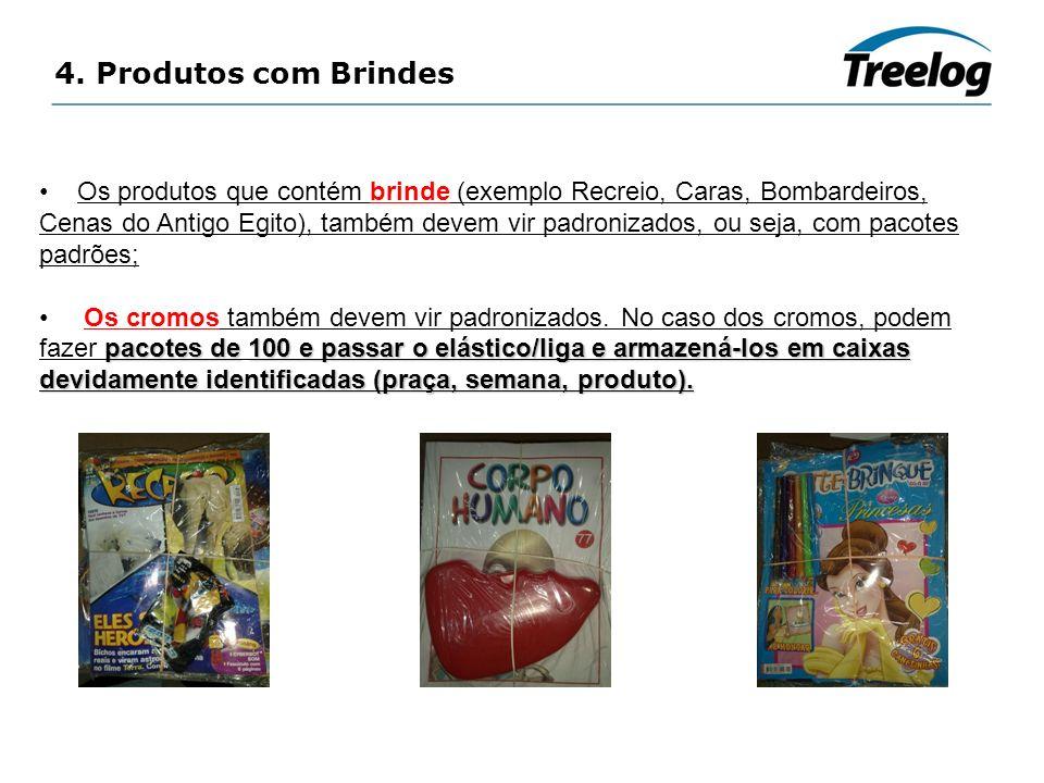 4. Produtos com Brindes Os produtos que contém brinde (exemplo Recreio, Caras, Bombardeiros, Cenas do Antigo Egito), também devem vir padronizados, ou