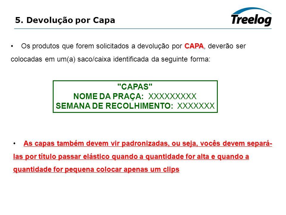 5. Devolução por Capa CAPA Os produtos que forem solicitados a devolução por CAPA, deverão ser colocadas em um(a) saco/caixa identificada da seguinte