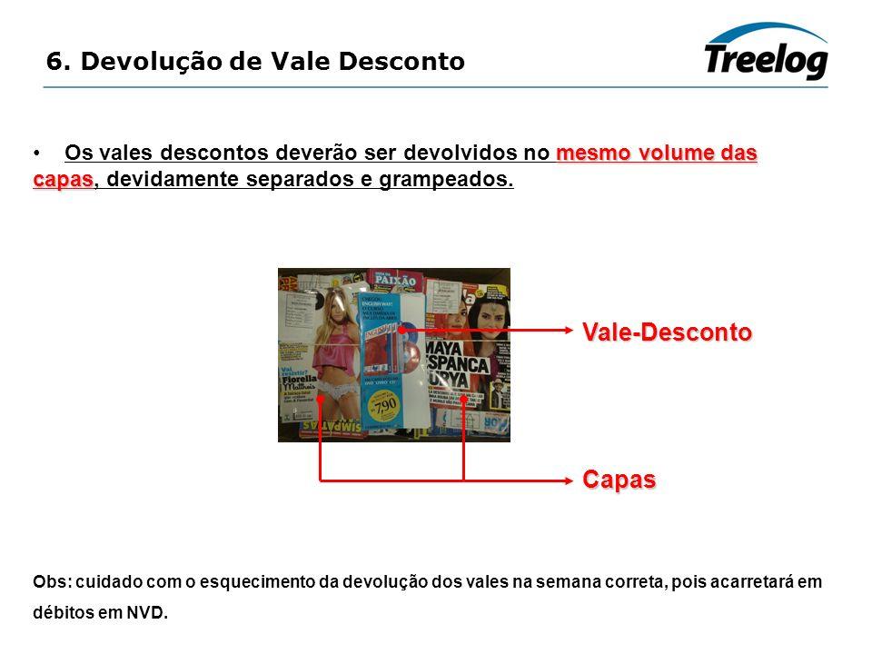 6. Devolução de Vale Desconto mesmo volume das capas Os vales descontos deverão ser devolvidos no mesmo volume das capas, devidamente separados e gram