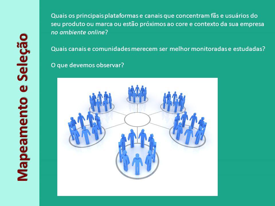 Mapeamento e Seleção Quais os principais plataformas e canais que concentram fãs e usuários do seu produto ou marca ou estão próximos ao core e contex