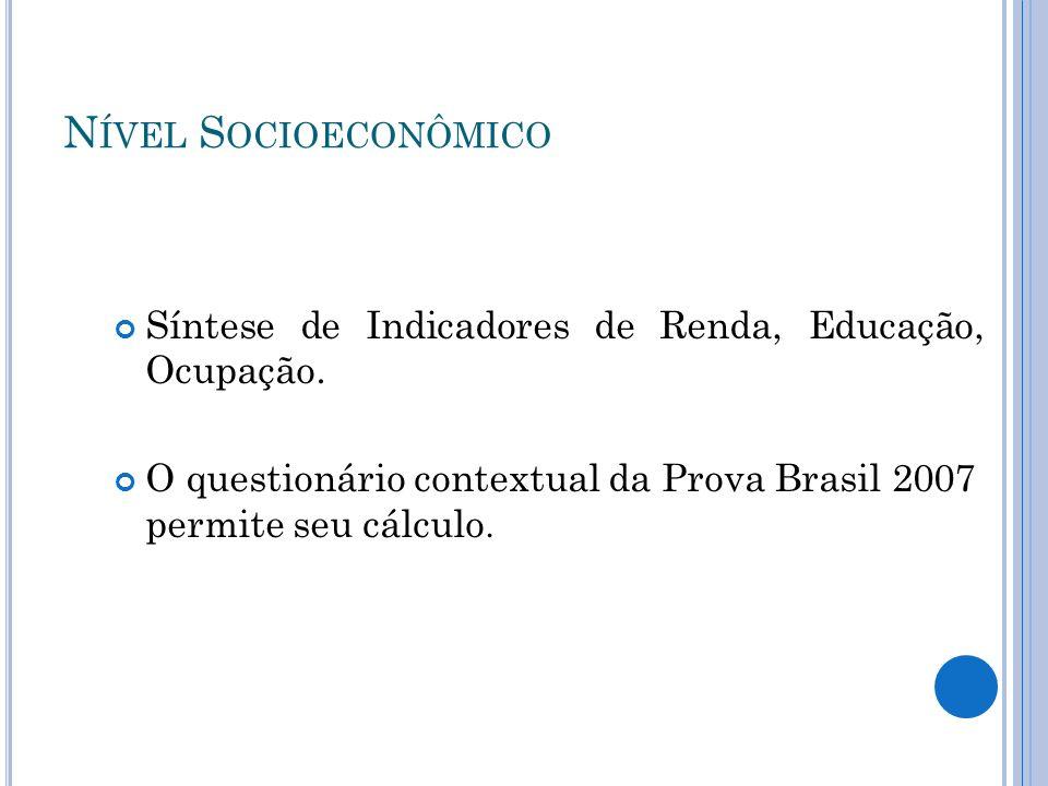 N ÍVEL S OCIOECONÔMICO Síntese de Indicadores de Renda, Educação, Ocupação. O questionário contextual da Prova Brasil 2007 permite seu cálculo.