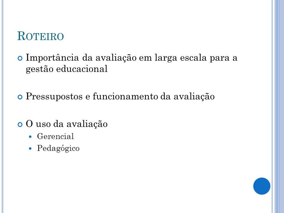 M ARCOS NA GESTÃO EDUCACIONAL 1995 – SAEB Coloca aprendizado no centro do debate educacional 2005 – Prova Brasil Dá visibilidade à escola como locus da aprendizagem IDEB Cria um sistema de accountability