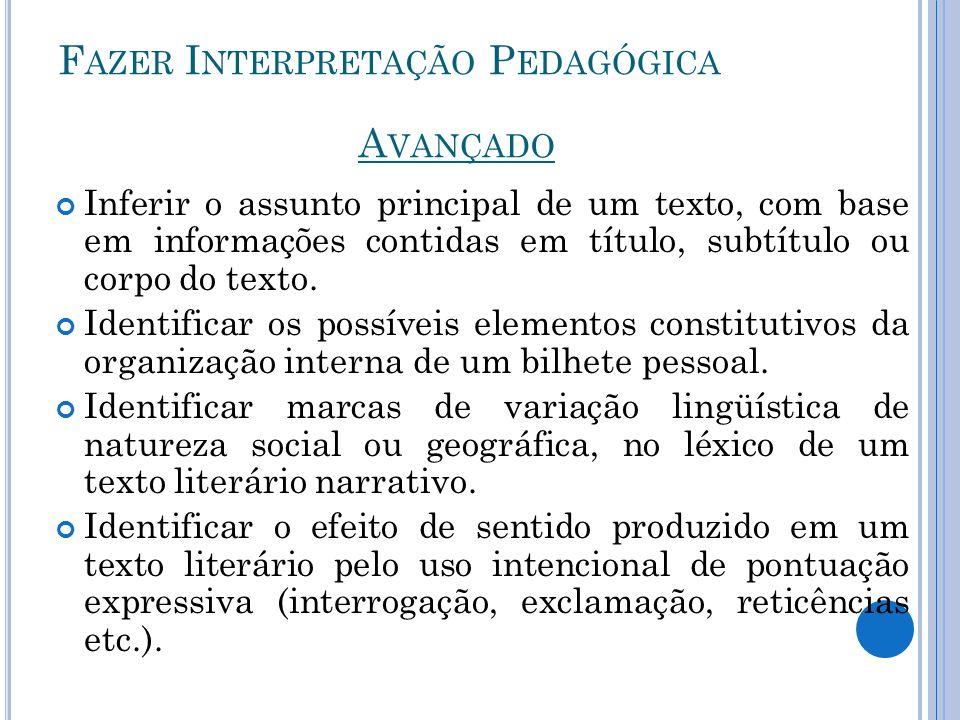 F AZER I NTERPRETAÇÃO P EDAGÓGICA Inferir o assunto principal de um texto, com base em informações contidas em título, subtítulo ou corpo do texto. Id