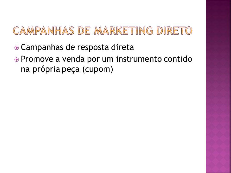 Campanhas de resposta direta Promove a venda por um instrumento contido na própria peça (cupom)