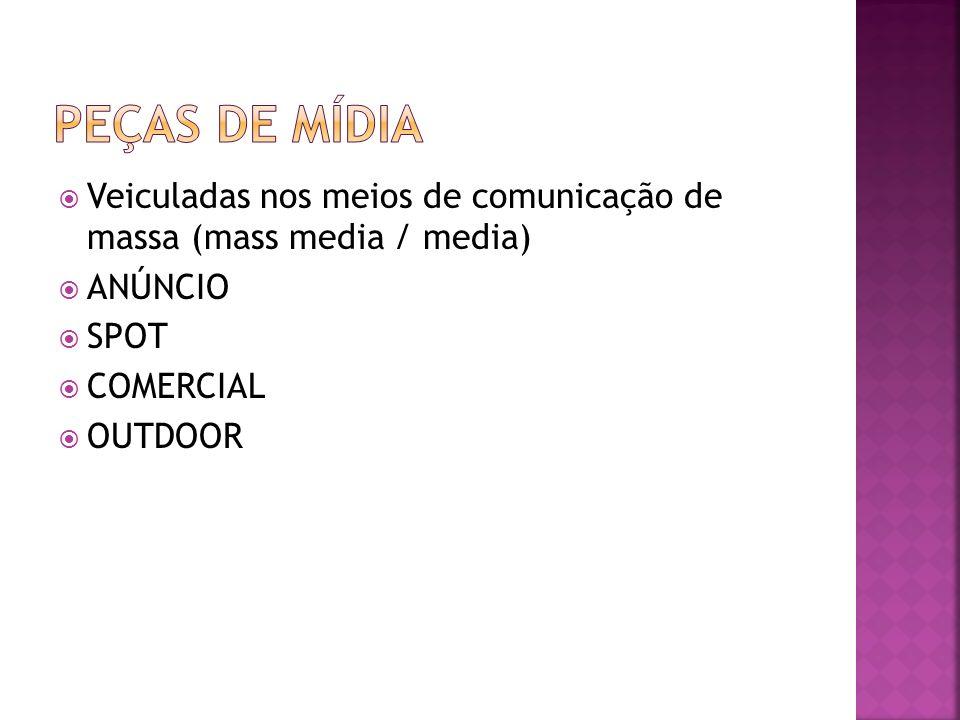 Veiculadas nos meios de comunicação de massa (mass media / media) ANÚNCIO SPOT COMERCIAL OUTDOOR
