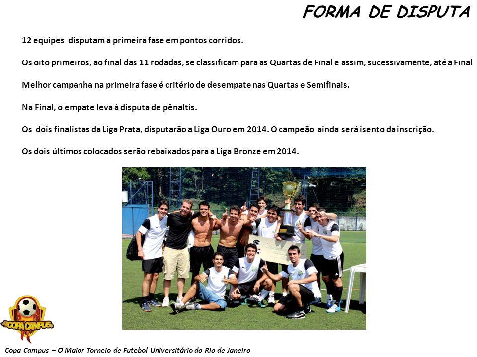 Copa Campus – O Maior Torneio de Futebol Universitário do Rio de Janeiro FORMA DE DISPUTA 12 equipes disputam a primeira fase em pontos corridos. Os o