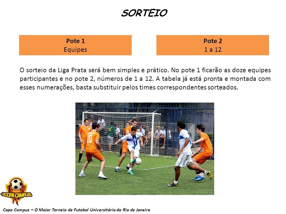 Copa Campus – O Maior Torneio de Futebol Universitário do Rio de Janeiro SORTEIO O sorteio da Liga Prata será bem simples e prático. No pote 1 ficarão
