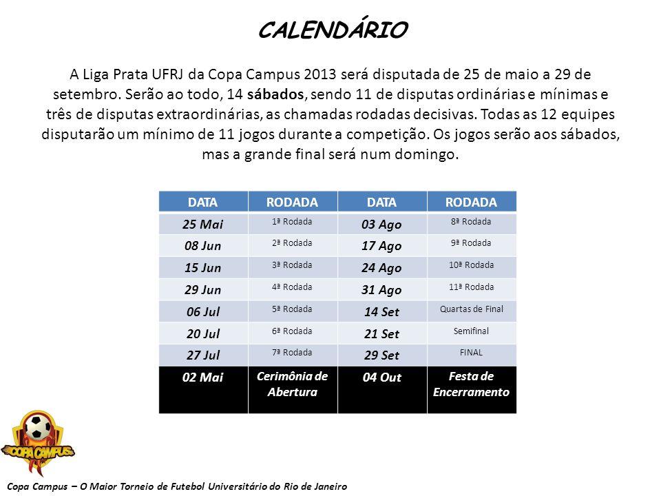 Copa Campus – O Maior Torneio de Futebol Universitário do Rio de Janeiro CALENDÁRIO A Liga Prata UFRJ da Copa Campus 2013 será disputada de 25 de maio