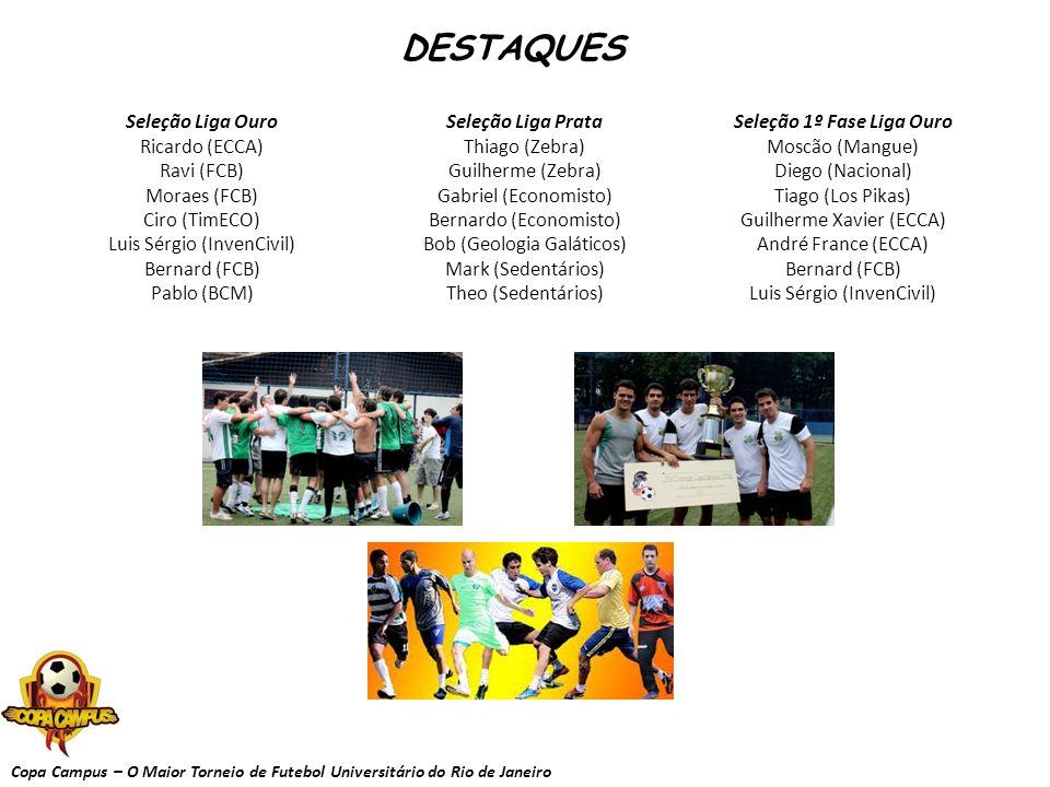 Copa Campus – O Maior Torneio de Futebol Universitário do Rio de Janeiro DESTAQUES Seleção 1º Fase Liga Ouro Moscão (Mangue) Diego (Nacional) Tiago (L