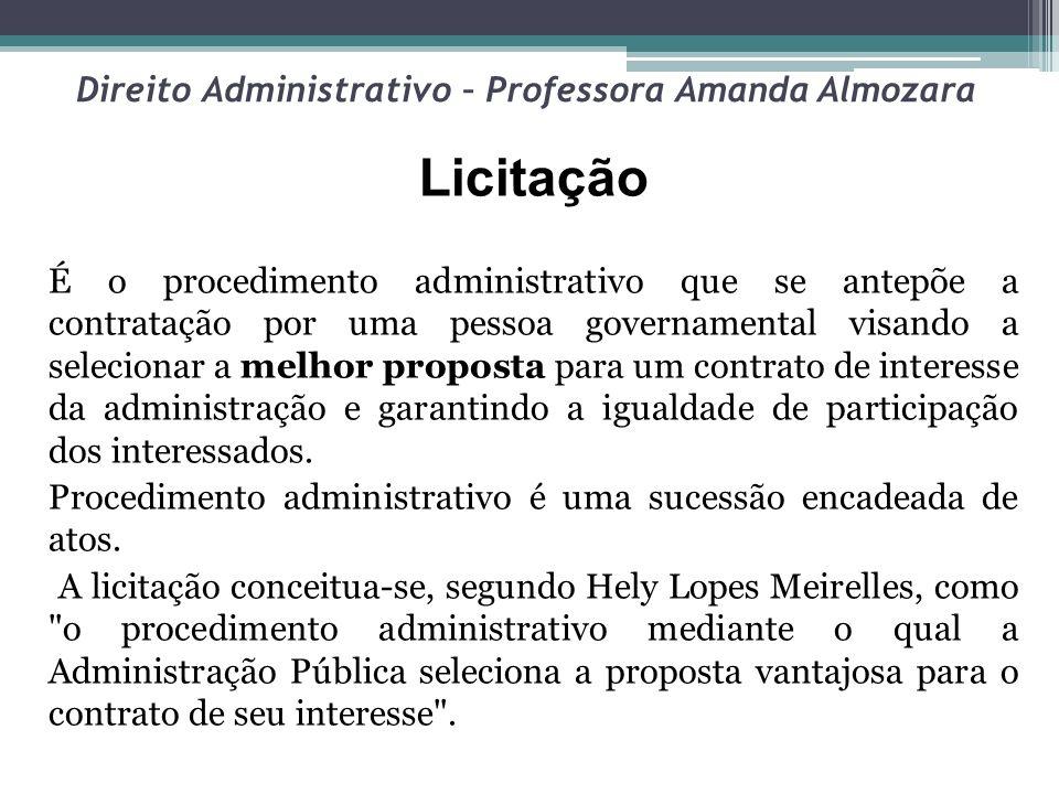 Direito Administrativo – Professora Amanda Almozara OBRIGATORIEDADE DE LICITAÇÃO A regra é a de que a licitação é antecedente necessário à contratação pela Administração.