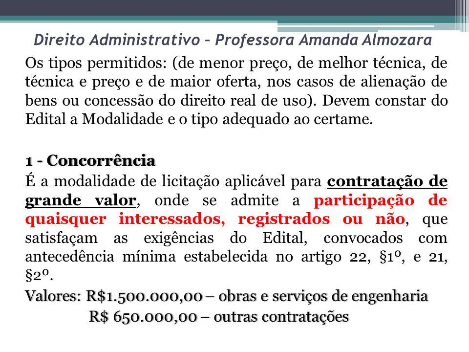 Direito Administrativo – Professora Amanda Almozara Os tipos permitidos: (de menor preço, de melhor técnica, de técnica e preço e de maior oferta, nos