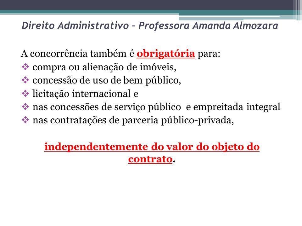 Direito Administrativo – Professora Amanda Almozara A concorrência também é obrigatória para: compra ou alienação de imóveis, concessão de uso de bem