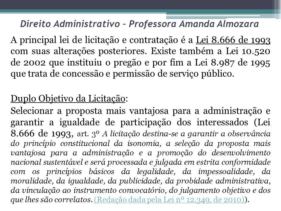 Direito Administrativo – Professora Amanda Almozara Os casos de licitação dispensável constam do art.24 da lei e a última alteração nesse dispositivo legal foi feita pela lei 11.484/07 que acresceu o inciso XXVIII ao artigo.