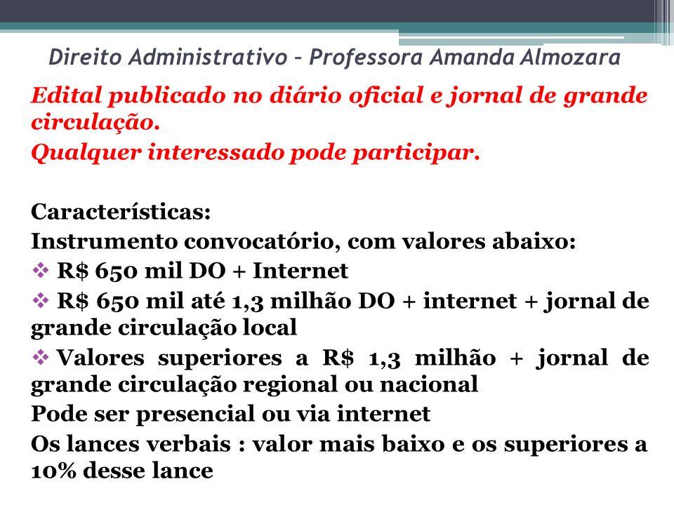 Direito Administrativo – Professora Amanda Almozara Edital publicado no diário oficial e jornal de grande circulação. Qualquer interessado pode partic