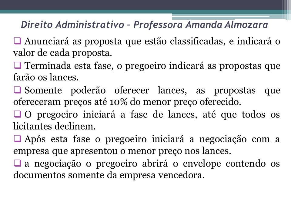 Direito Administrativo – Professora Amanda Almozara Anunciará as proposta que estão classificadas, e indicará o valor de cada proposta. Terminada esta