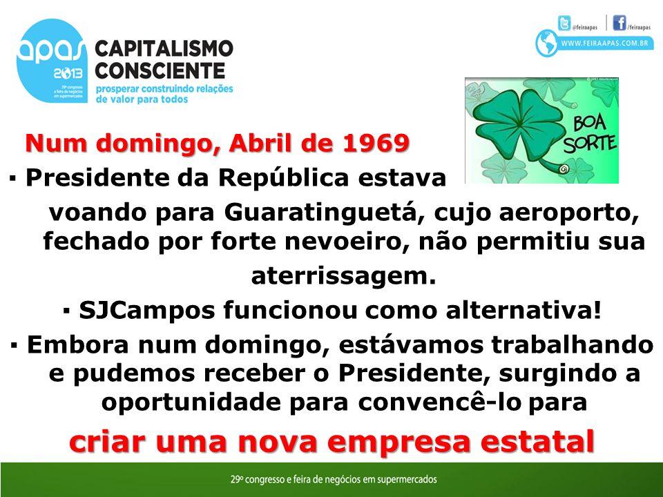 Num domingo, Abril de 1969 Num domingo, Abril de 1969 Presidente da República estava voando para Guaratinguetá, cujo aeroporto, fechado por forte nevoeiro, não permitiu sua aterrissagem.