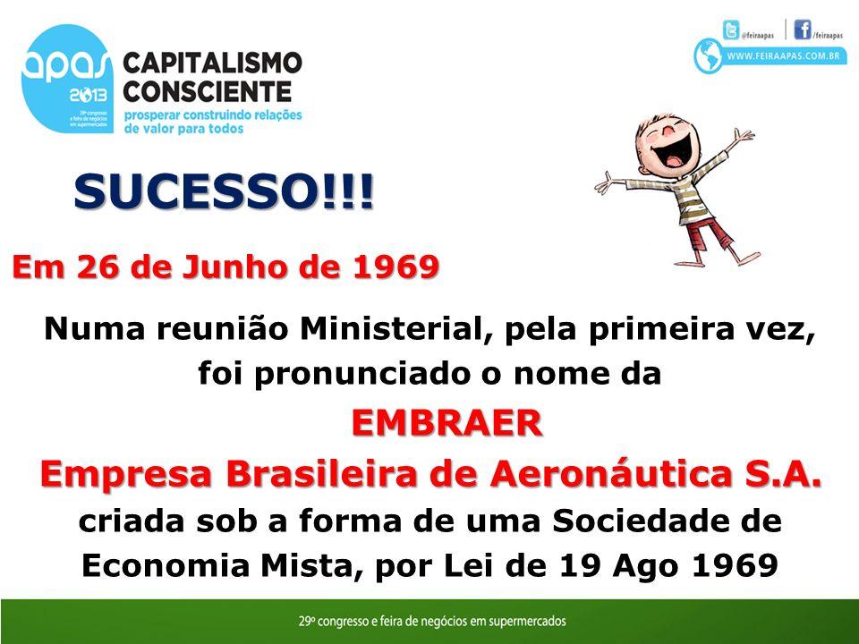 Em 26 de Junho de 1969 Numa reunião Ministerial, pela primeira vez, foi pronunciado o nome daEMBRAER Empresa Brasileira de Aeronáutica S.A. criada sob