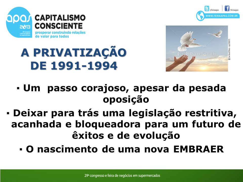 A PRIVATIZAÇÃO DE 1991-1994 Um passo corajoso, apesar da pesada oposição Deixar para trás uma legislação restritiva, acanhada e bloqueadora para um futuro de êxitos e de evolução O nascimento de uma nova EMBRAER
