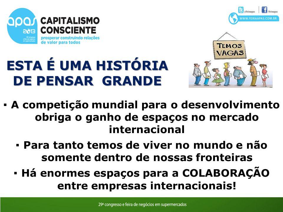 A competição mundial para o desenvolvimento obriga o ganho de espaços no mercado internacional Para tanto temos de viver no mundo e não somente dentro de nossas fronteiras Há enormes espaços para a COLABORAÇÃO entre empresas internacionais.