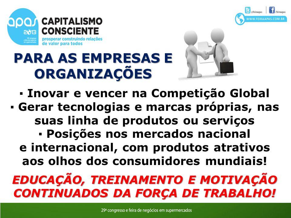 PARA AS EMPRESAS E ORGANIZAÇÕES Inovar e vencer na Competição Global Gerar tecnologias e marcas próprias, nas suas linha de produtos ou serviços Posiç