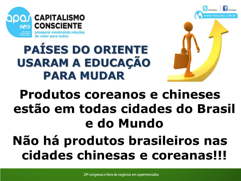 PAÍSES DO ORIENTE USARAM A EDUCAÇÃO PARA MUDAR PAÍSES DO ORIENTE USARAM A EDUCAÇÃO PARA MUDAR Produtos coreanos e chineses estão em todas cidades do Brasil e do Mundo Não há produtos brasileiros nas cidades chinesas e coreanas!!!