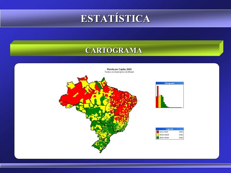 CARTOGRAMA ESTATÍSTICA Cartograma é a representação sobre uma carta geográfica.
