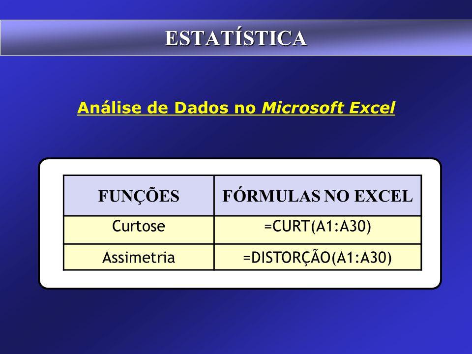 ESTATÍSTICA Análise de Dados no Microsoft Excel