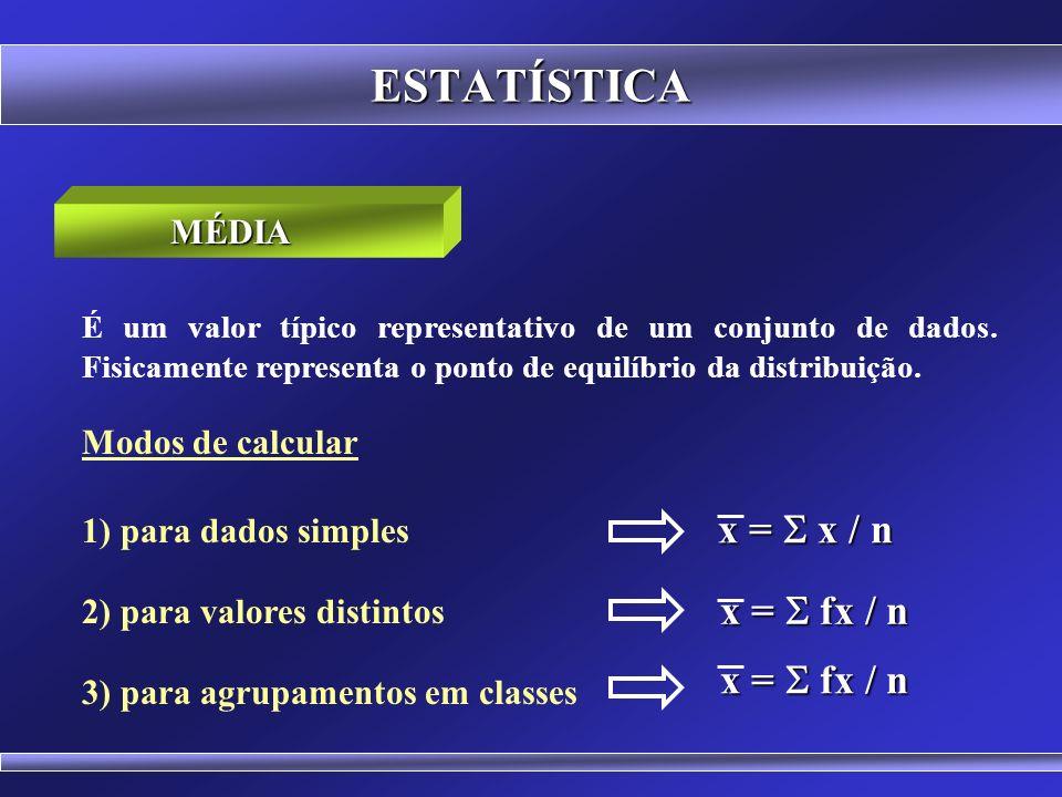 ESTATÍSTICA MÉDIA É um valor típico representativo de um conjunto de dados. Fisicamente representa o ponto de equilíbrio da distribuição. Média Aritmé