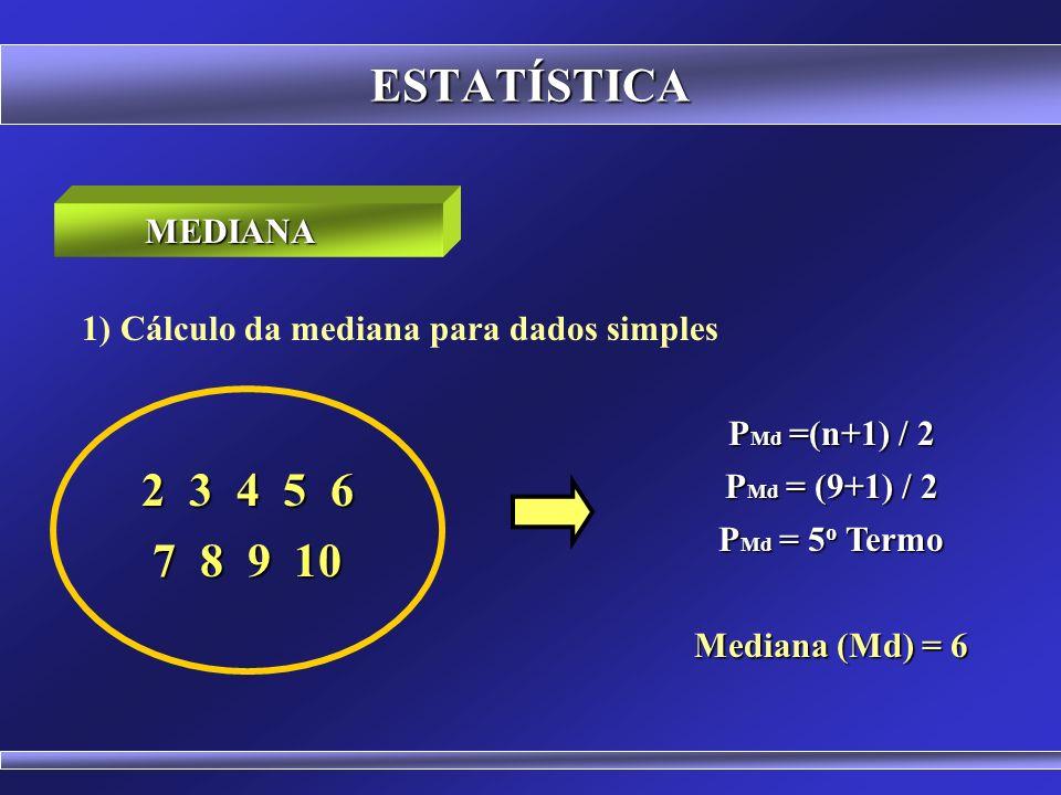 ESTATÍSTICA Roteiro para o Cálculo do Valor da Mediana: Fazer a disposição em rol Calcular a posição da mediana Encontrar o valor
