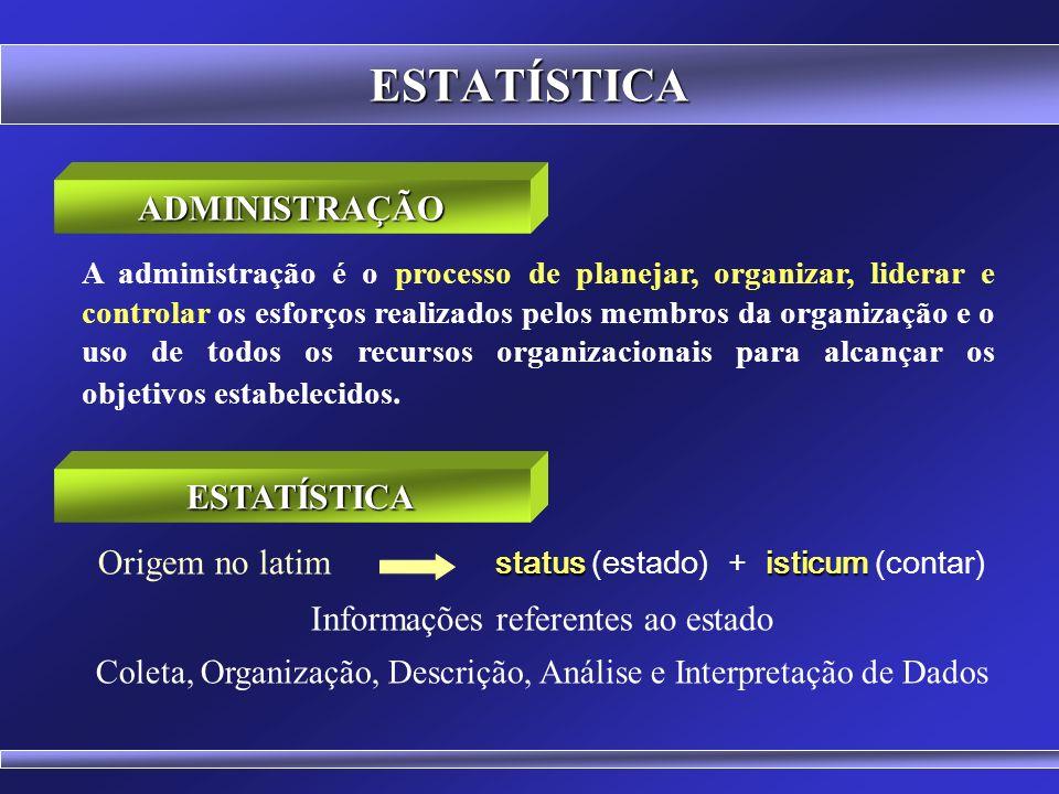 ESTATÍSTICA A administração é o processo de planejar, organizar, liderar e controlar os esforços realizados pelos membros da organização e o uso de todos os recursos organizacionais para alcançar os objetivos estabelecidos.